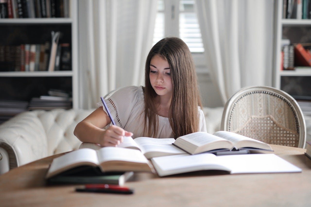 young woman studying for exams
