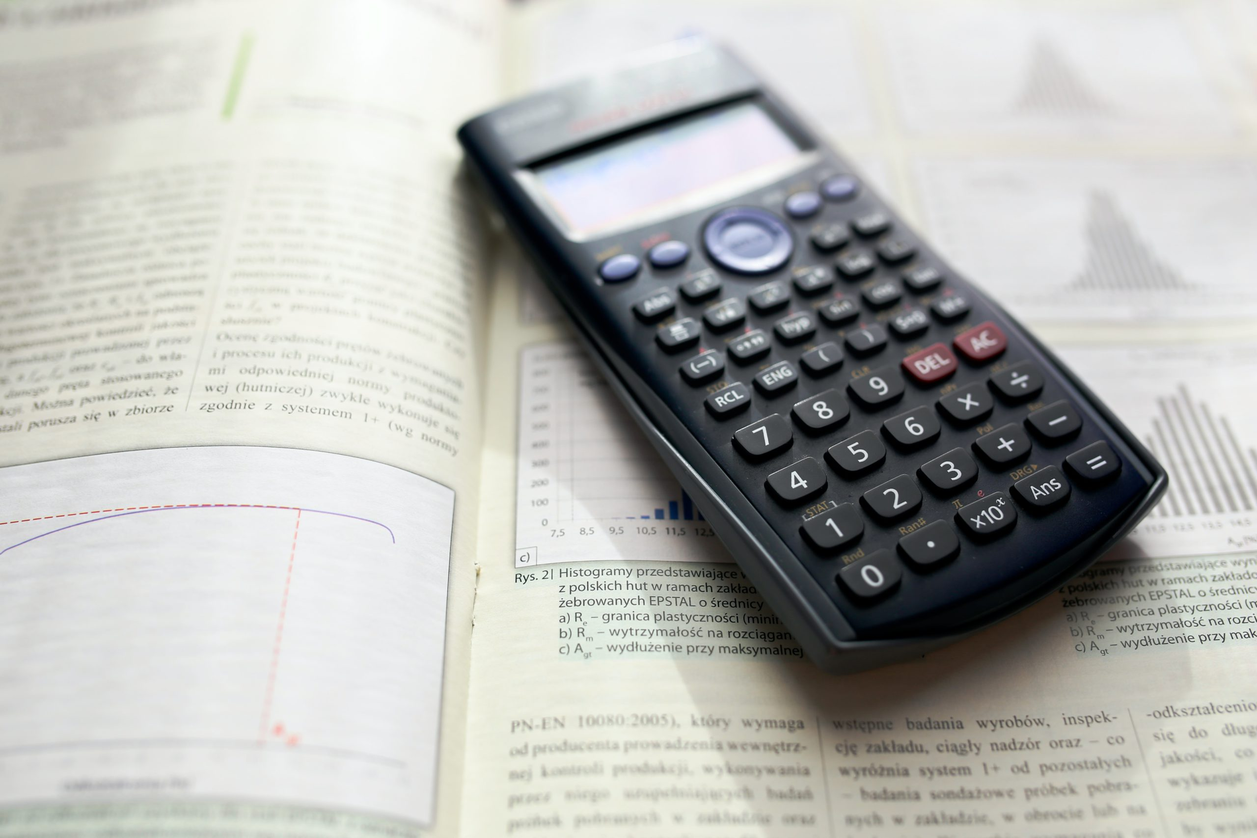 calculator on maths book