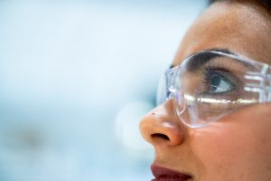 close up of scientist wearing glasses