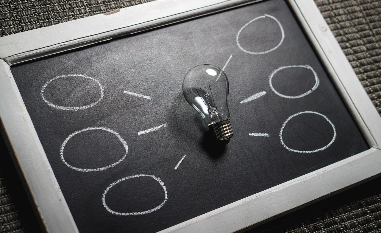 blackboard with lightbulb