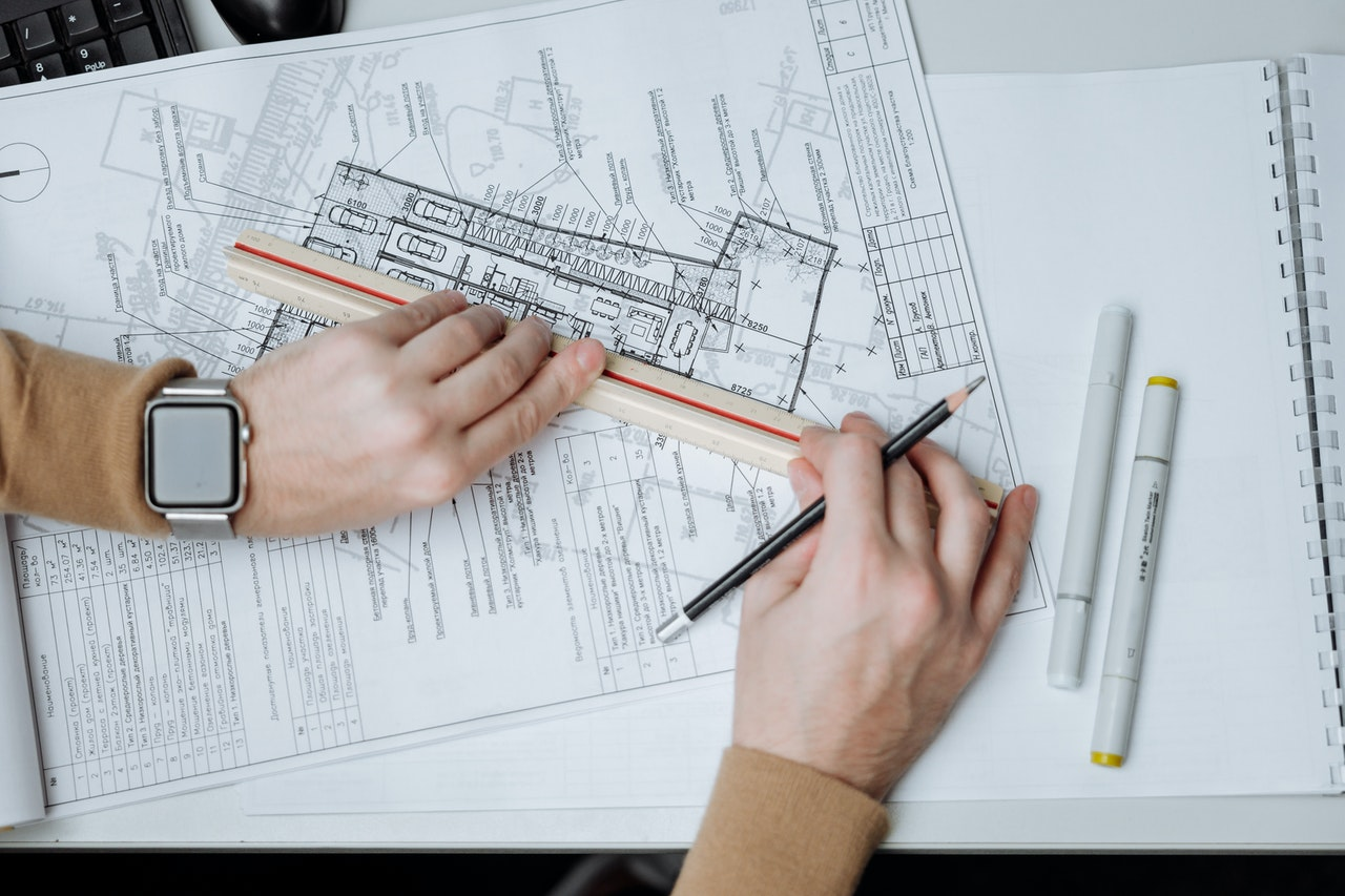 architect creating drawings