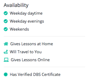 availability information tutorspot