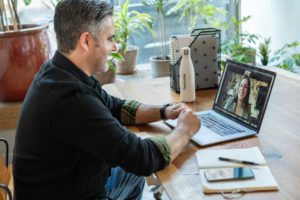 man and woman having video call